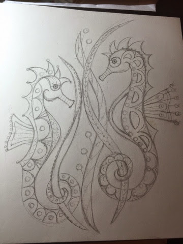 Goldwork Seahorses Sketch