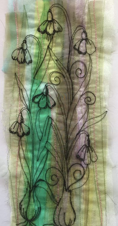 Organza Snowdrop panel – Constructing sketched flower fabrics