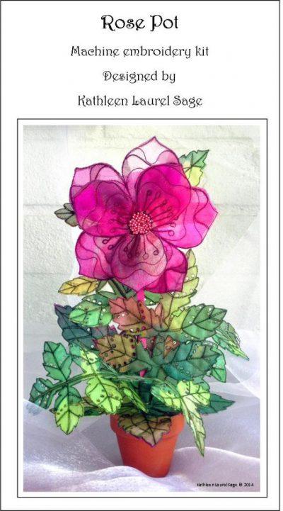 3 Dimensional Pink Rose in a Pot Organza Kit