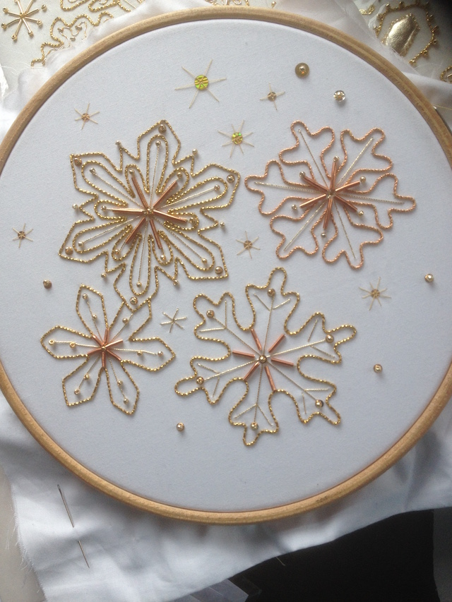 Introduction to Goldwork: Couched Winter Snowflakes