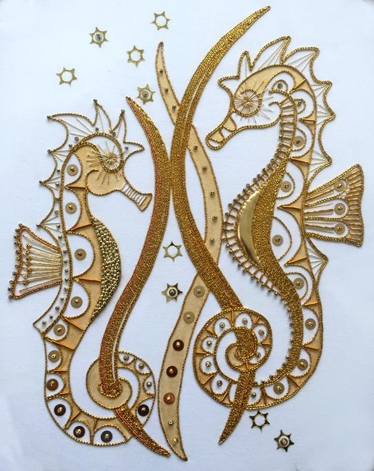 Seahorses Goldwork