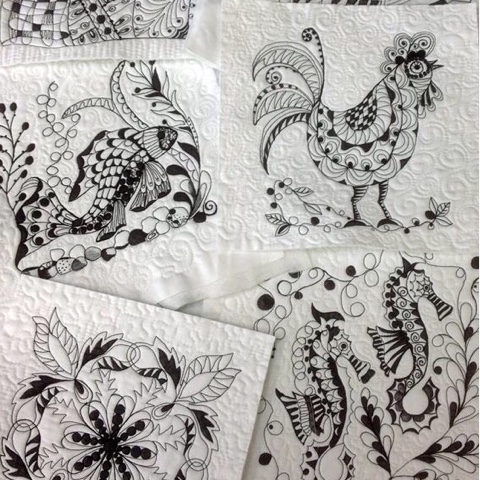 Machine Embroidered and Quilted Zentangle
