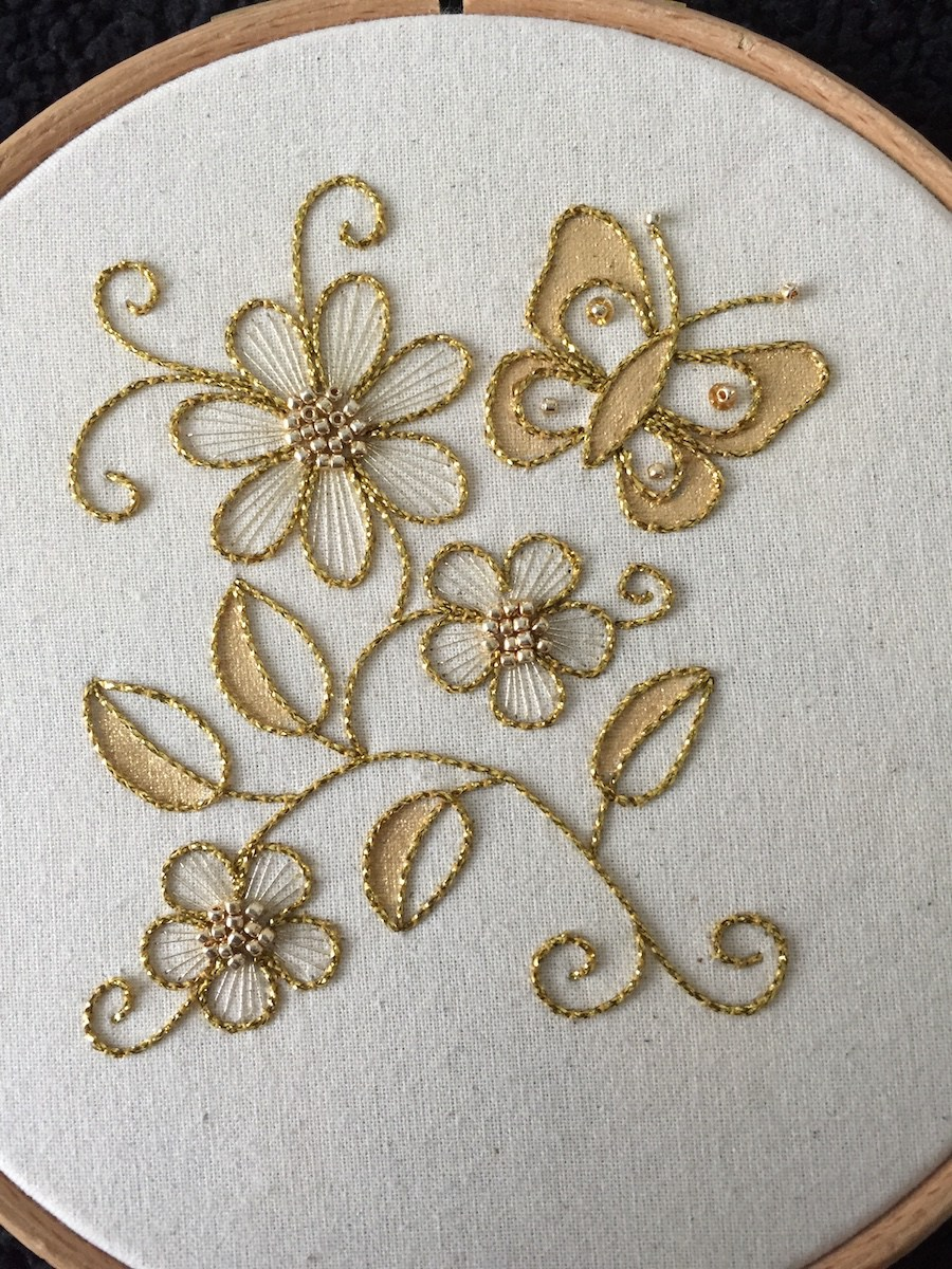 Introduction to Goldwork: Couched Butterfly and Flower Cascade