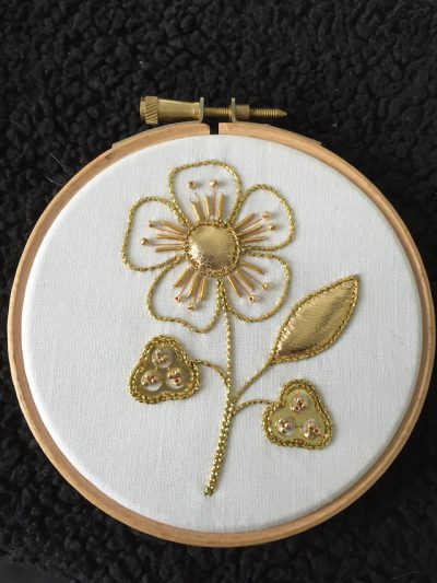 Introduction to Goldwork: Couched Flower with Padded Leather