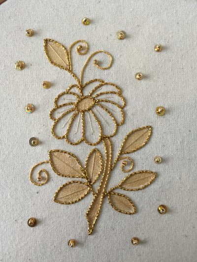Introduction to Goldwork: Couched and Painted Elegant Flower