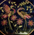 Gold work pink flamingo kit worked in 12″hoop