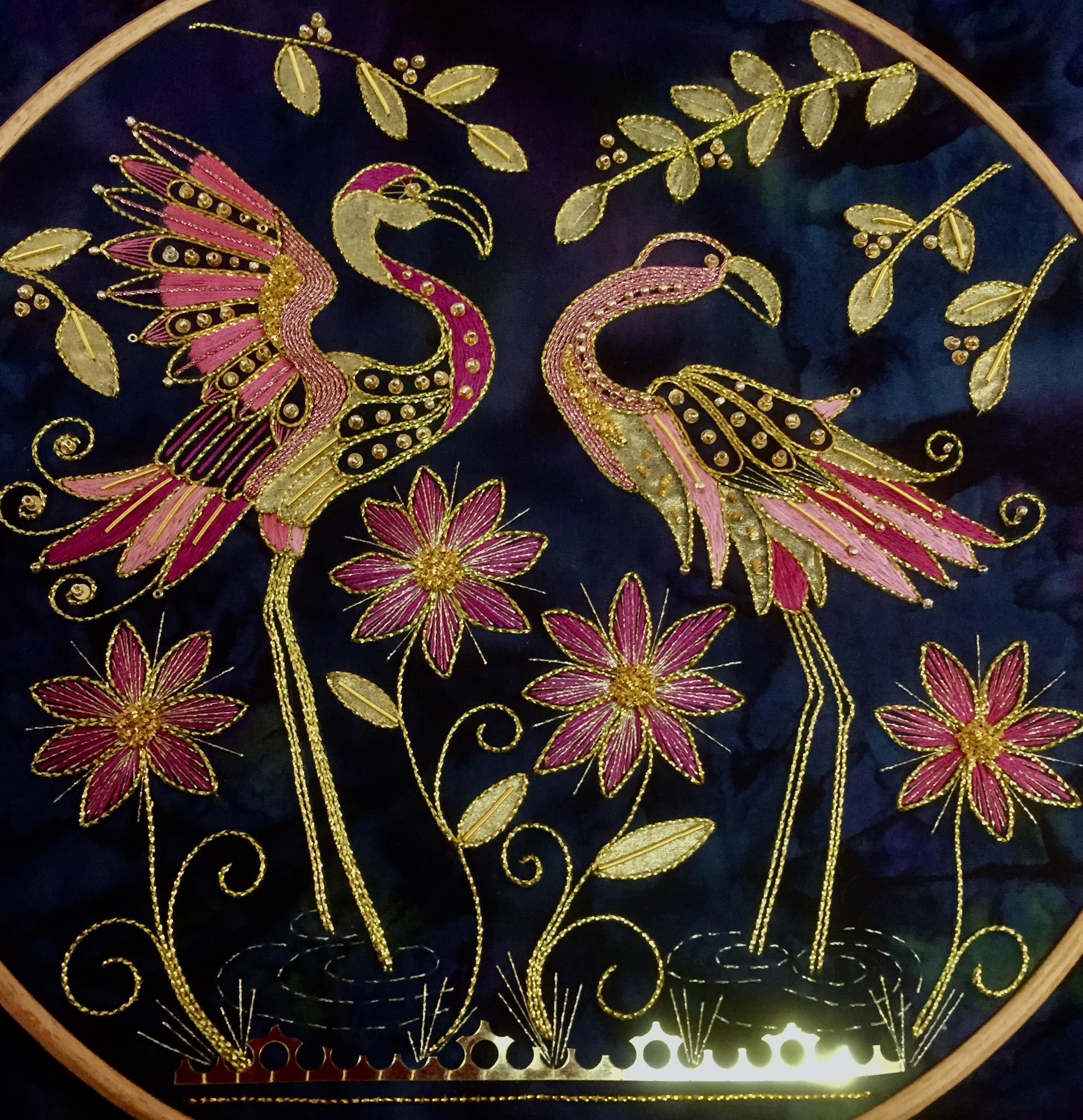 PInk Flamingos Goldwork